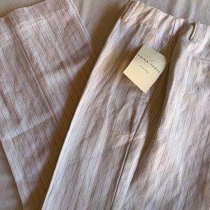 Emma James linen wide leg slack white/navy stripe